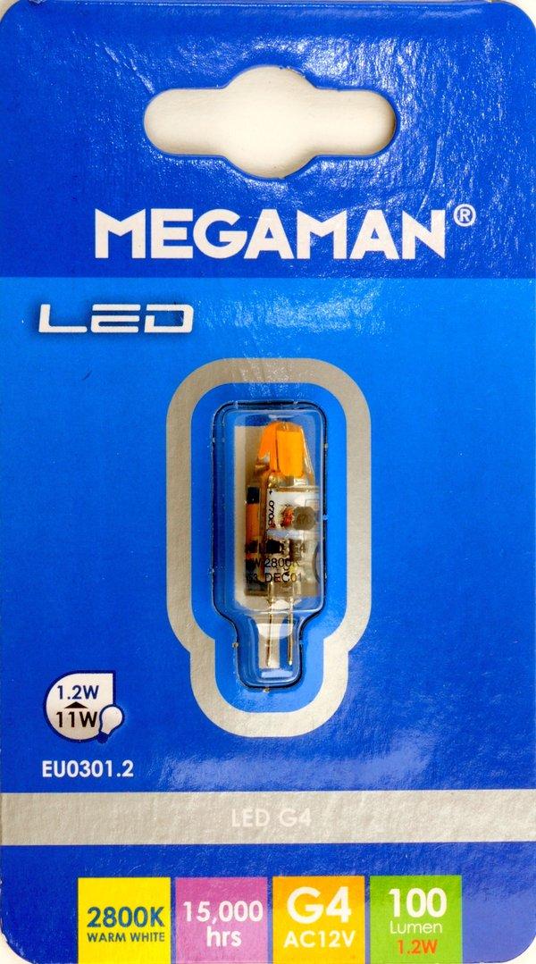 megaman led lampe 12v 1 2w g4 sockel f r aeg dunsthaube eu0301 2. Black Bedroom Furniture Sets. Home Design Ideas